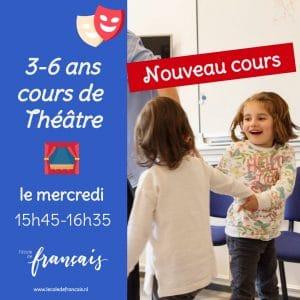 3 – 6 ans, Cours de théâtre, Toneelcursus voor kinderen, Woensdag 15.45-16.35 uur 22/9/2021    proefles  